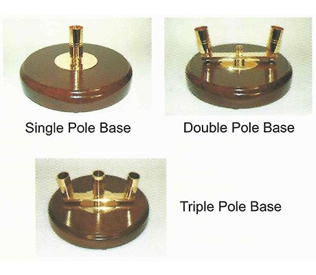 Circular wood bases to take, 2 poles