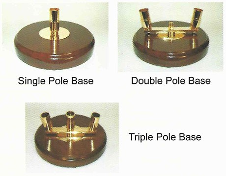 Circular wood bases to take, 3 poles